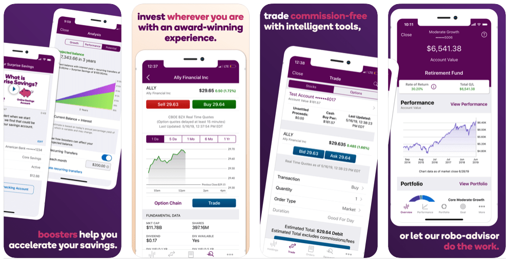 ally invest mobile app screenshots