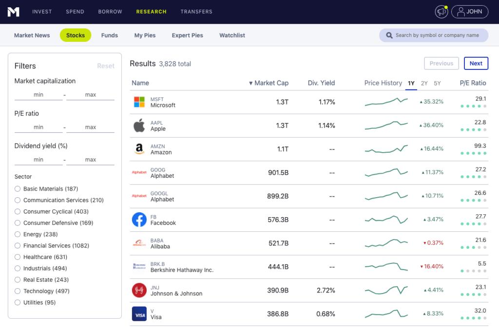 m1 finance research filters screenshot